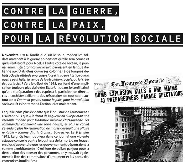 Exposition «Contre la guerre, contre la paix, pour la révolution sociale»